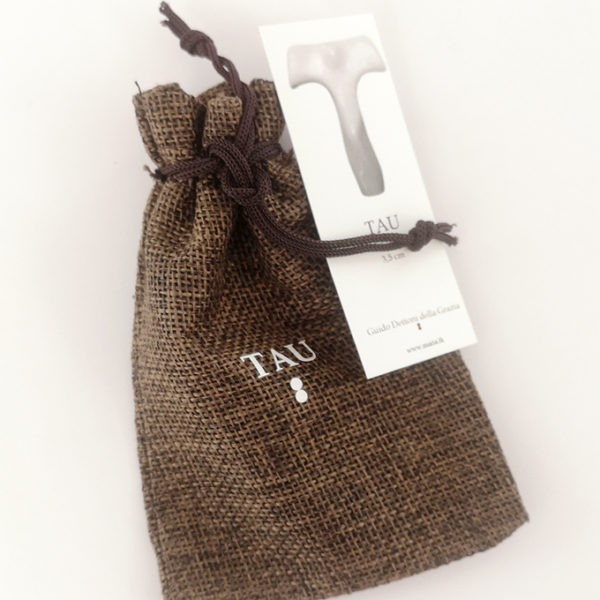 artist-certificate-of-the-artwork-tau-necklace-0.9-inches-and-fabric-bag-dark-brown-color-with-silk-screened-tau-marking