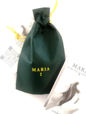 flyer-of-the-artwork-maria-carved-in-wood-5.5-inches-and-bag-green-color