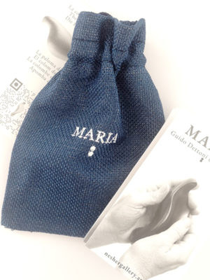 flyer-of-the-artwork-maria-cast-in-white-resin-3-inches-and-fabric-bag-blue-color