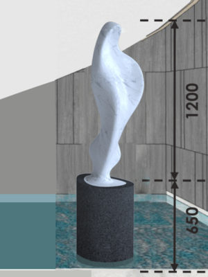 Maria enlargementcarved in Carrara marble, 120 cm | 4 ft sculpture height, with basalt plinth, 23/5000 shown in an environment