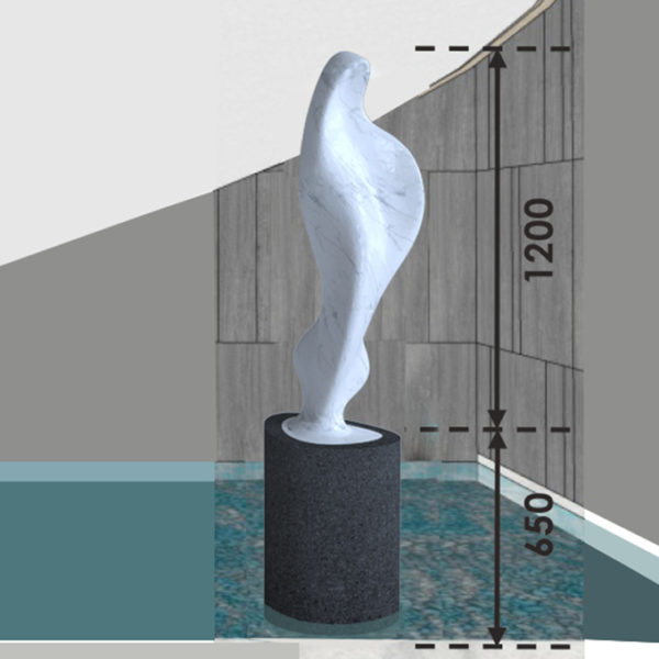 Maria enlargement carved in Carrara marble, 120 cm | 4 ft sculpture height, with basalt plinth, 23/5000 shown in an environment